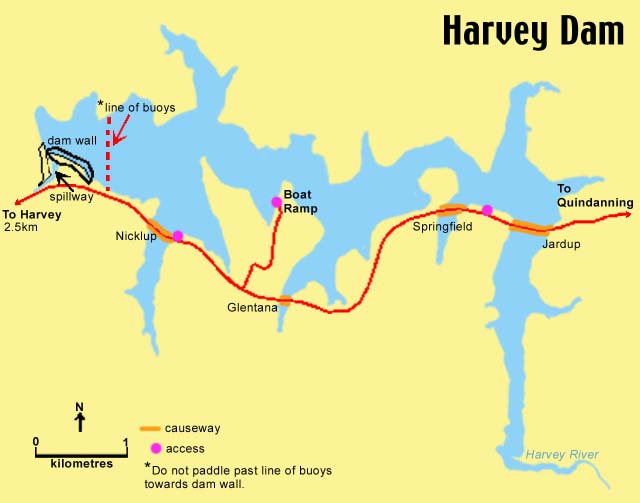 Harvey Dam map