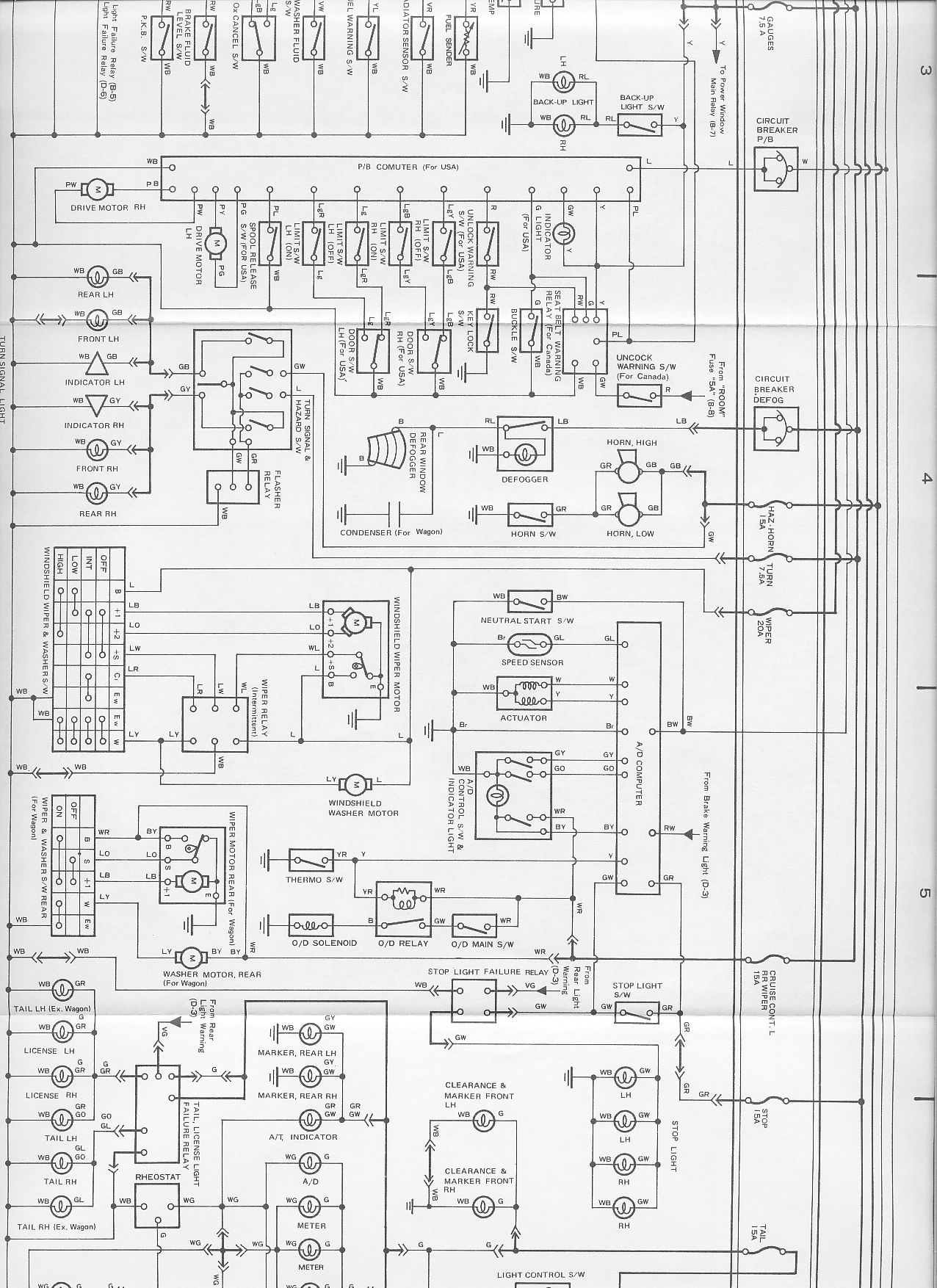 Cressida Production Data Fuse Box Wiring Diagrams Canada Us Spec Part 1 A